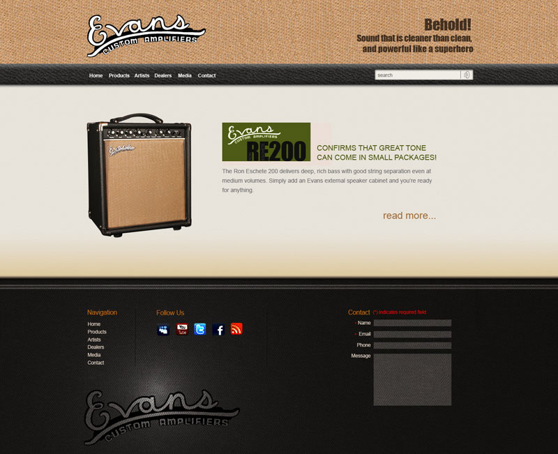 evansamps.com website mockup
